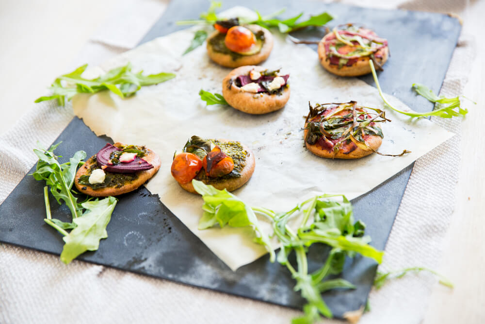 Mini Pizza Bites Pesto Healthy Super Bowl Recipe