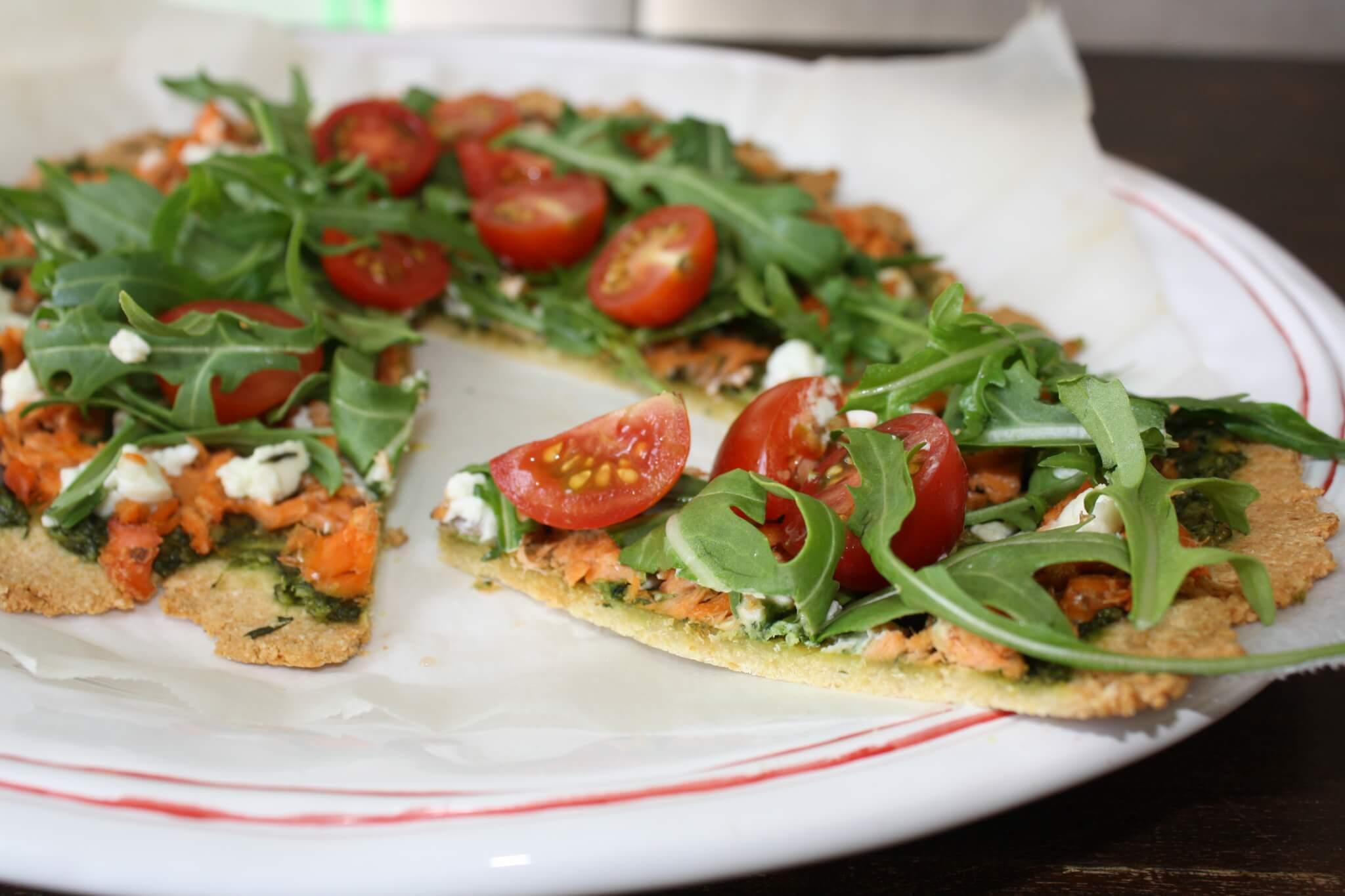 Gluten-Free Salmon, Pesto & Goats Cheese Pizza! - Move Nourish Believe