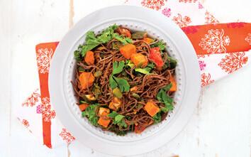 Vegetarian Black Bean Spaghetti Rainbow Bowl