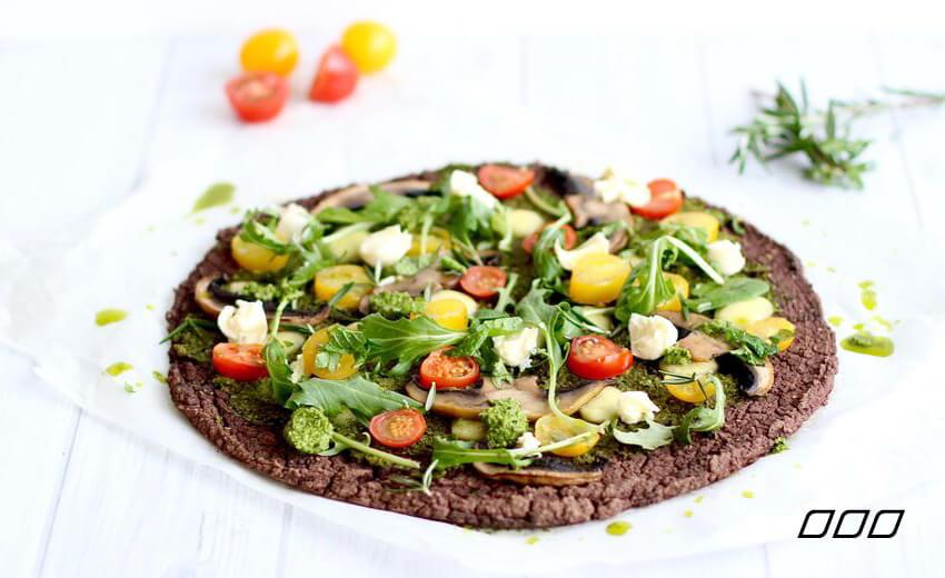 High Protein Black Bean Crust Pizza