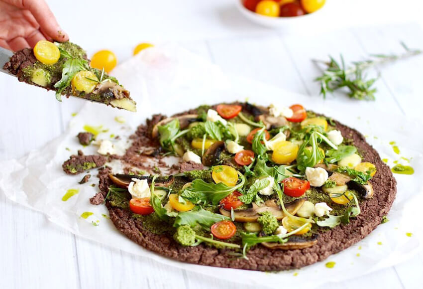 High Protein Black Bean Crust Pizza
