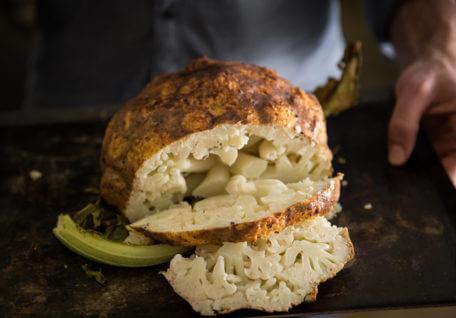Baked Cauliflower with Tofu Dressing