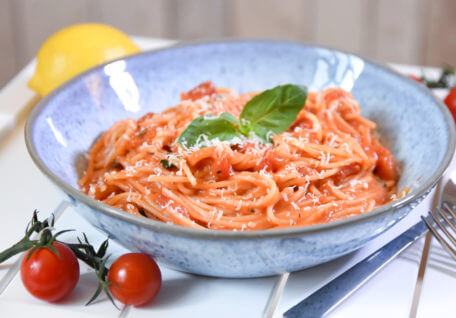Coconut Infused Creamy Tomato and Basil Pasta