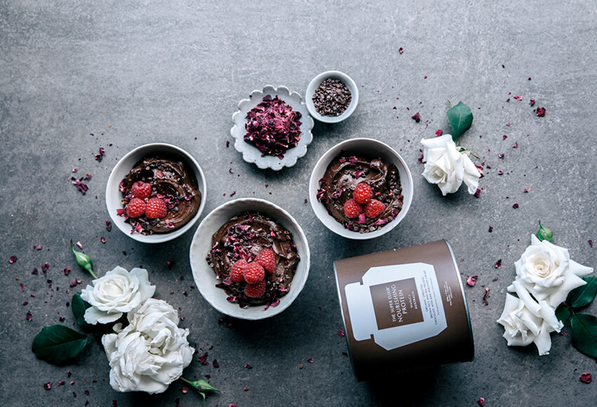 Chocolate Mousse with Fresh Raspberries & Cacao Nibs