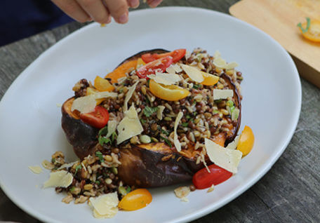 Twice Baked Pumpkin with Lentils and Ancient Grains
