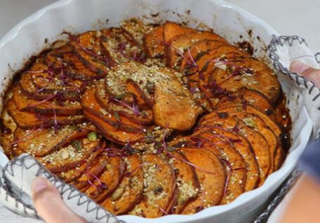 Moroccan Sweet Potato Bake with Pistachio Dukkah and Yoghurt
