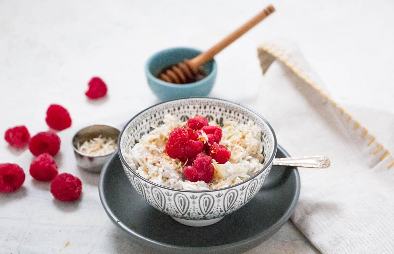 Apple, Raspberry & Coconut Bircher Muesli