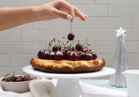 Vegan Baked Cherry and Lemon Cheesecake