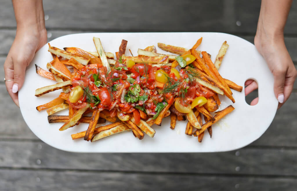 Super Bowl Snacks! Loaded Sweet Potato & Haloumi Fries