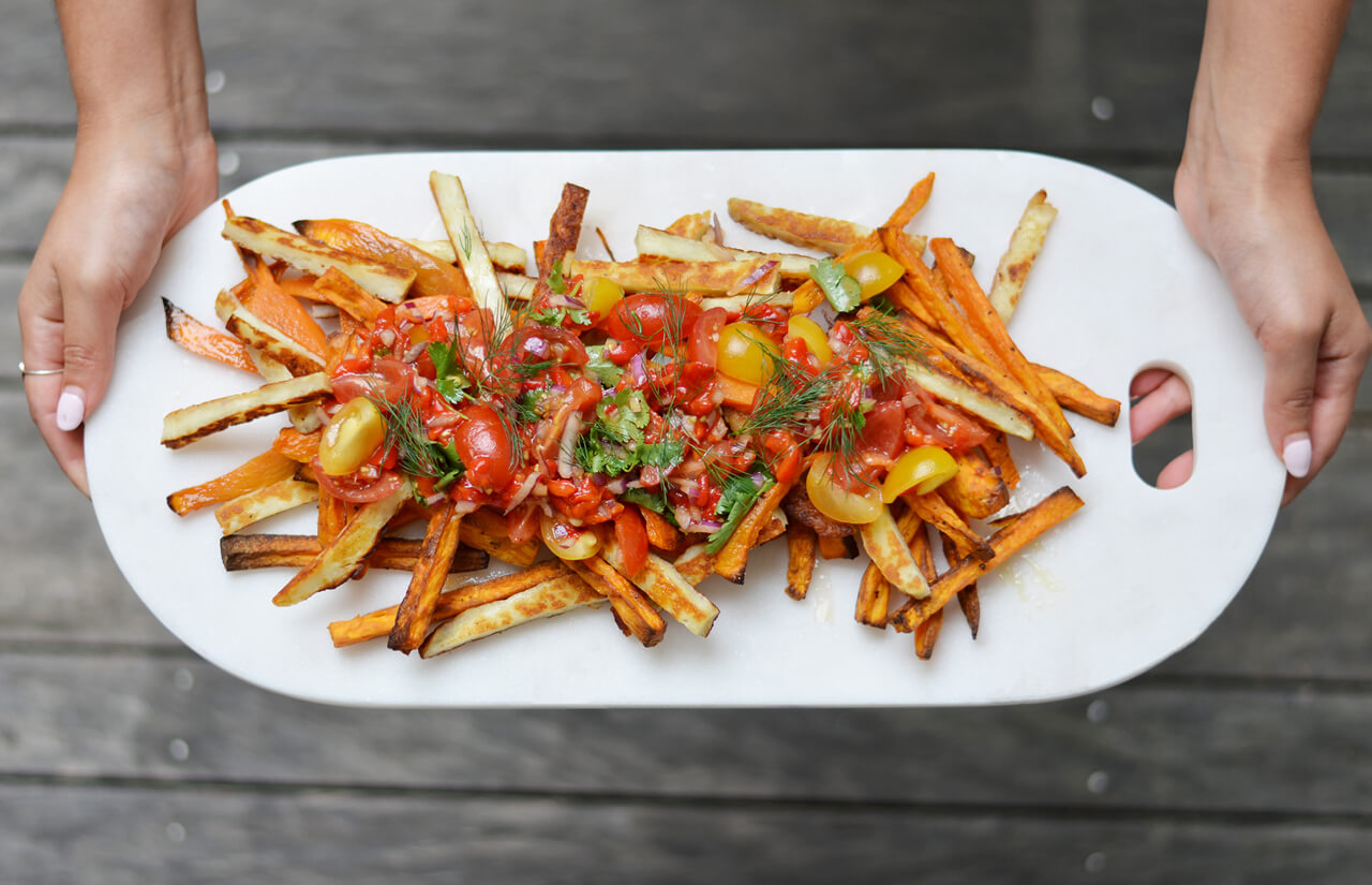 Super Bowl Snacks! Loaded Sweet Potato & Haloumi Fries