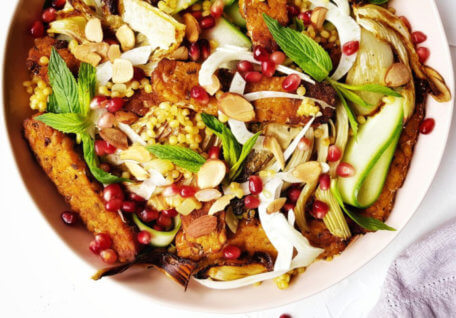 Chickpea Tempeh, Cous Cous & Pomegranate Salad