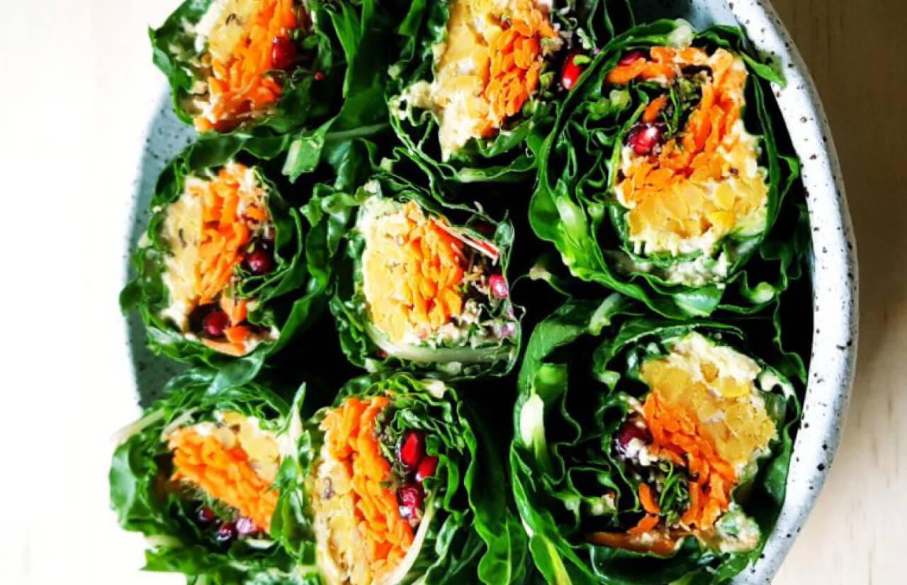 Crunchy Silverbeet Tempeh Wraps
