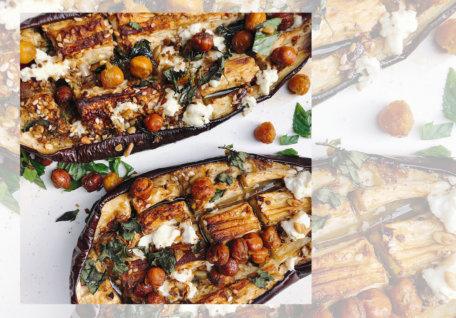 Mediterranean Baked Eggplant w/ Crispy Chickpeas & Feta