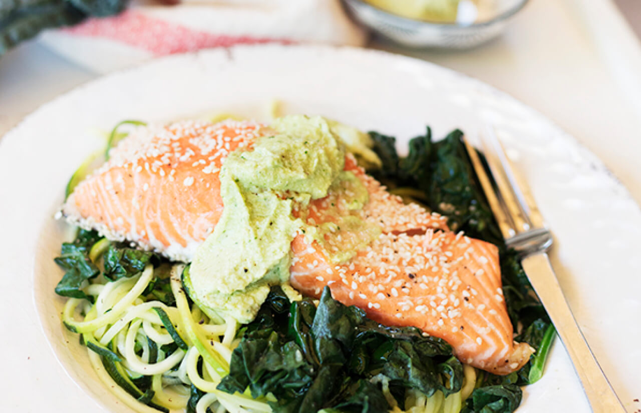 Baked Salmon with Zoodles & Avo Cashew Cream