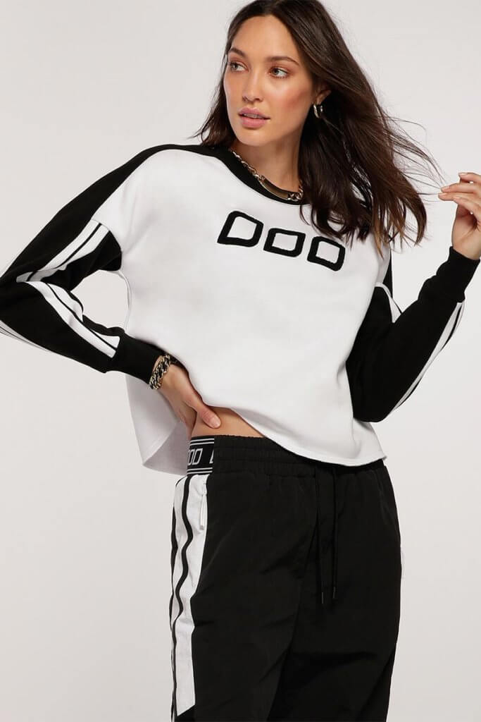 Colour Block Cropped Sweat