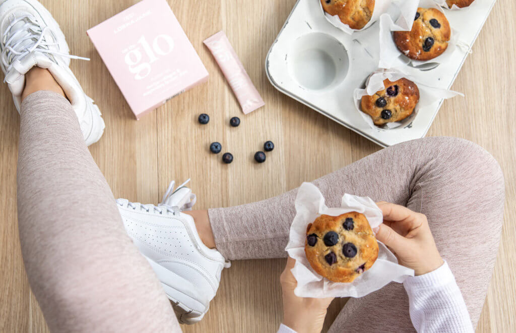 guilt-free blueberry collagen muffins
