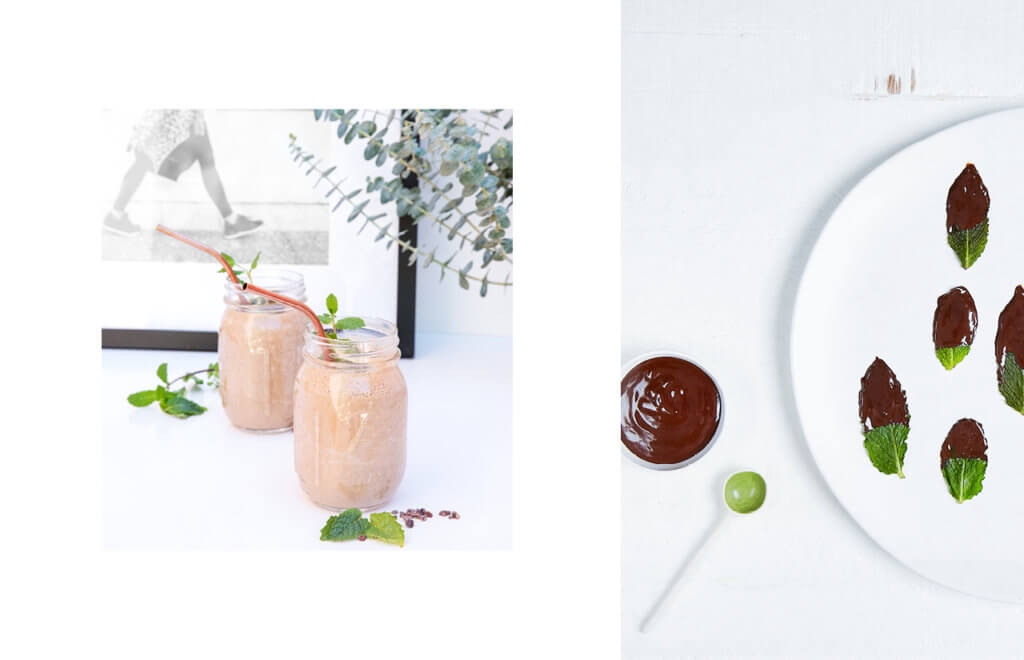 Lorna Jane and Happy Way coco choc mint collagen smoothie